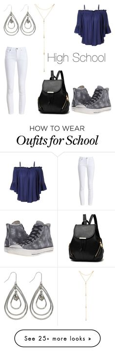 """""""High School"""" by xhermelienx on Polyvore featuring Barbour, LE3NO, Converse, M&Co and Fragments"""