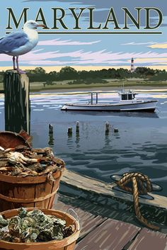 Maryland - Blue Crab & Oysters on Dock - Lantern Press Poster