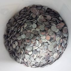 Fountain coins are mostly pennies.  But you can see a good representation of denominations here.