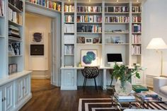 Home Office Decor Home Library Rooms, Home Library Design, Home Libraries, Home Office Design, Home Office Decor, Home Decor, Cozy Home Office, House Design, Living Room Designs