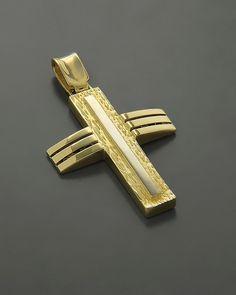 Σταυρός βαπτιστικός Χρυσός Κ14 Christian Symbols, Holy Cross, Cross Jewelry, Crosses, Christianity, Cufflinks, Jewels, Accessories, Design
