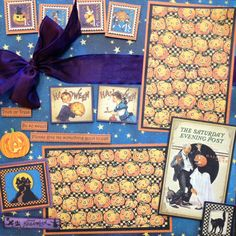 Graphic 45 October 12x12 scrapbook page layout using The Place in Time collection and Happy Haunting collection.