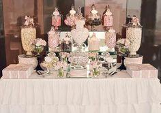 Candy buffet bar – I need to make ruffled tablecloth or buy them – Diy Wedding 2020 Wedding Candy Table, Wedding Sweets, Wedding Favors, Wedding Ideas, Lolly Buffet Wedding, Wedding Details, Wedding Props, Wedding Rustic, Chic Wedding