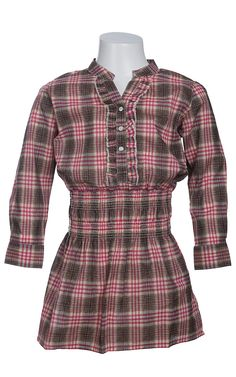 Wrangler® Girls Pink and Brown Plaid Long Sleeve Western Dress