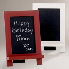 """Mini Easel Chalkboard - The white board would have a response that read """"Thank You Sam. Clean Your Room. XO Mom"""""""