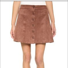 WAYF Faux Suede Skirt A vintage-inspired waist tops a supple faux-suede skirt in a flattering A-line silhouette. Front button closure. 90% polyester, 10% spandex. Dry clean. By Wayf; imported. Savvy. WAYF Skirts