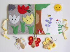 A három pillangó- ujjbáb készlet és mini bábszínház, Baba-mama-gyerek, Játék, Báb, Készségfejlesztő játék, Meska