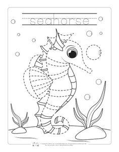 Seahorse tracing worksheet. Ocean Activities, Animal Activities, Book Activities, English Activities, Preschool Activities, Animal Worksheets, Tracing Worksheets, Preschool Worksheets, Preschool Learning