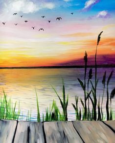 Canvas Painting Class on at Muse Paintbar Garden City Easy Canvas Painting, Simple Acrylic Paintings, Acrylic Art, Painting & Drawing, Watercolor Paintings, Watercolor Sunset, Sunset Paintings, Lake Painting, Sunset Acrylic Painting