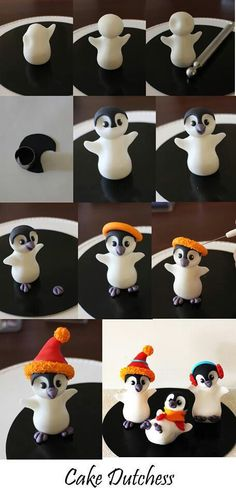 Clay / fondant: Edible penguin step by step from Naera on deviantART - . Clay / fondant: Edible penguin step by step from Naera to deviantART Fondant Toppers, Fondant Cakes, Polymer Clay Animals, Polymer Clay Crafts, Polymer Clay Ornaments, Sculpey Clay, Polymer Clay Figures, Winter Torte, Winter Cakes