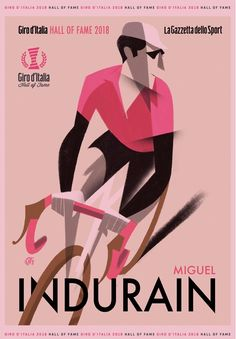 Giro d'Italia Miguel Indurain by Riccardo Guasco Bicycle Illustration, Graphic Illustration, Bike Poster, Cycling Motivation, Minimal Poster, Bicycle Art, Cycling Art, Graphic Design Typography, Tee Design