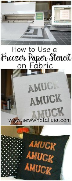 How to Use a Freezer Paper Stencil on Fabric: If you want to customize all your stuff with a stencil but are kind of hesitant about using it on fabric then this is for you! Click through for tips and tricks to creating and using a freezer paper stencil Embroidery Designs, Paper Embroidery, Machine Embroidery, Embroidery Digitizing, Leather Embroidery, Modern Embroidery, Embroidery Stitches, Stencil Fabric, Fabric Painting