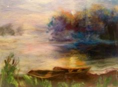 Picture of wool  original painting landscape Fog by Artwoolland, $75.00