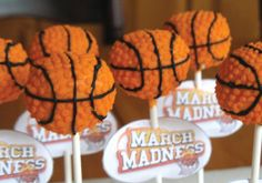 Basketball Cake Pops (Could be translated to candy apples)