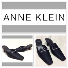 "Anne Klein black bling slip--on heels size 8.5M These beauties feature Rhinestone straps, heart shaped heel, squared/point toes, nonslip footbed, leather sole and approximately 2"" heel height. Made in Italy. Anne Klein Shoes Heels"