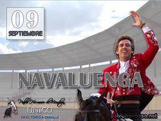 Pablo Hermoso de Mendoza inicia este miércoles, en el coso abulense de Navaluenga, una intensa gira de seis festejos en días consecutivos.  Puede Usted acceder al PREVIO informativo de la corrida a través del siguiente enlace: http://www.pablohermoso.net/corridas/2015/20150909navaluenga/index.htm