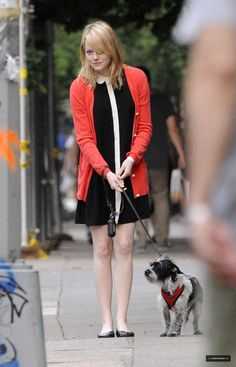 Everything about this is fabulous from the 60's style dress to taking the adorable dog out for a walk in NYC.