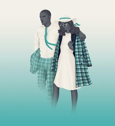 Amazing illustrations Mr & Mrs Teal by Jack Hughes The first in a series of seven illustrations for Savile Row based fabric merchants Holland & Sherry. These illustrations directly incorporated fabrics from their S/S 14 collection 'Impact'