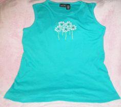 TNo Sleeves Has 5 Flowers Blue Tee Shirt Women size large  Used Good Shape