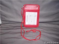 ID HOLDER, RED, DOUBLE POUCH, 3x5, NEW