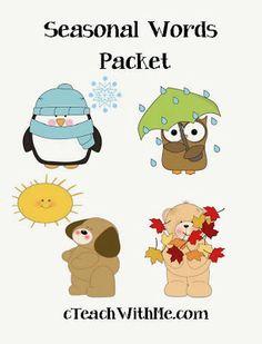 Classroom Freebies: Seasonal Words Packet