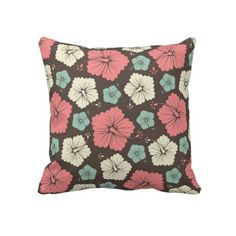 Pink, Green and Brown Pillow at zazzle.com