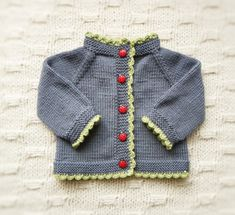 Ladybug sweater ladybug buttons grey and green cardigan by Tuttolv