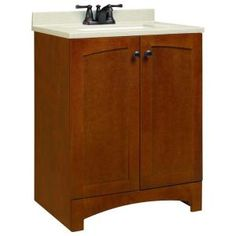 American Classics Melborn 24 in. Vanity in Chestnut with Solid Surface Technology Vanity Top in Wheat-PPMELCHT24Y at The Home Depot