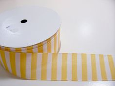 Yellow Striped Polyester Ribbon 1 3/8 inches by GriffithGardens, $2.50