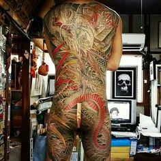 Discover the top 105 best full-body tattoo ideas for men including black/gray and full-color tattoos as well as designs featuring skulls, buddhas and more. Japanese Tattoo Artist, Japanese Dragon Tattoos, Mens Body Tattoos, Body Art Tattoos, Hot Tattoos, Tatoos, Full Body Tattoo, Real Tattoo, Dynamic Tattoo