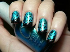 Original Art by Let them have Polish! Orly ~ It's up to Blue, Icing ~ Black Out;  Stamp ~ BM20