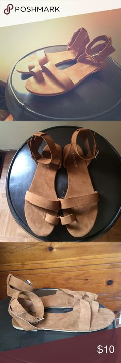 Tan suede ankle strap sandals New, never-worn cute and comfy suede sandals with ankle strap and band around big toe. Perfect for casual summer wear! H&M Shoes Sandals