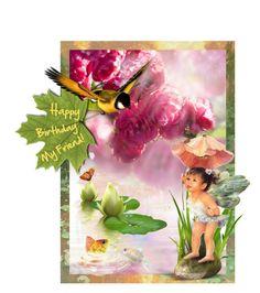"""""""Happy Birthday My Friend!! (for Irina)"""" by valeria-mezhevikina ❤ liked on Polyvore featuring art, birthday, fantasy, fairies and artset"""