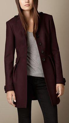 Casaco em sarja de lã dupla com acabamento em couro | Burberry