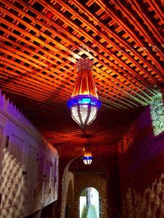 Love the lamp throwing light across rustic beams