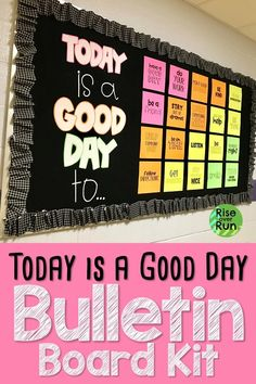 This bulletin board design looks awesome It was so easy to print cut and hang up to make a bright motivational display in the school hallway Letters spell out Today is a. Counselor Bulletin Boards, Hallway Bulletin Boards, Elementary Bulletin Boards, Bulletin Board Design, Back To School Bulletin Boards, Bulletin Board Display, Kindness Bulletin Board, Health Bulletin Boards, Star Wars Party