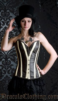 Steampunk striped Overbust Corset From DraculaClothing.com $129