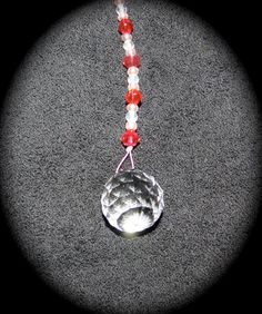 """Crystal Ornament with Pink and Red beads 20 mm in size (about 1"""" diameter) for Feng Shui by JulsCraftCrazy, $6.00"""