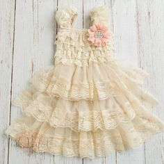 NEW FB FANS RECEIVE A 10% DISCOUNT for the first order! Just add my FB page and convo me on ETSY to get your 10% off code!   https://www.facebook.com/PinkPerfectBoutique    With a beautiful vintage inspired look they are perfect for any little girl and occasion! This darling dress boasts a beautiful bodice with layers of cascading lace ruffles and a tiered chiffon skirt adorned with stunning french lace. The top of the dress is adorned with a beautiful handmade flower in peach. If you will…