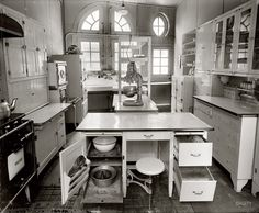 "Modern Kitchen: 1924 Washington, D.C., circa 1924. ""1734 N St. kitchen."" The Dupont Circle address is longtime home of the Iron Gate Inn. Harris & Ewing glass neg."