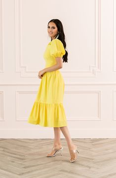 cceb2eb40c1d Cute yellow puff sleeve dress for spring. New dresses from Rachel Parcell.  #affiliatelink