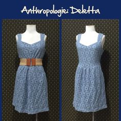 """Anthro """"Silverfield Dress"""" by Deletta Cotton/nylon eyelet lace shel with a poly lining. Smokey blue color, side zip, cutout back, side pockets, great condition. **  Prices are as listed- Nonnegotiable.  I'm happy to bundle to save shipping costs, but there are no additional discounts.  No trades, paypal or condescending terms of endearment  ** Anthropologie Dresses"""