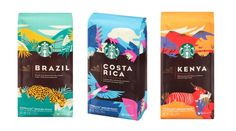 You don't have to catch the next flight out to sample coffees from around the world. Thanks to Starbucks' new Premium Select Collection Packaged Coffees for you can brew up your own cup of international java right in the comfort of your… Food Packaging Design, Coffee Packaging, Coffee Branding, Brand Packaging, Bottle Packaging, Food Branding, Starbucks Coffee Beans, Coffee Drinks, Drinking Coffee