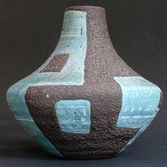 turquiose glazed - Carsten Toennishof - Gerda Heuckeroth - Atelier Series - Model 100 Vase - Fat Lava - WGP - Heinz Siery - roth keramik era