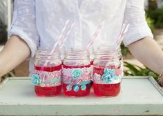 Embellished mason jars for a high tea party