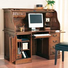 Roll Top Desk Maybe Refurbish My Husbands Work Space With Charcoal And  Orange And New