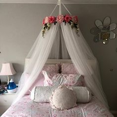 Ella Blue Canopy - Floral Crib Canopy // Bed Crown // Nursery Decor // Teepee // Baby Shower Decoration or Gift // Pink Peonies and Roses - Ella blau Baldachin Floral Krippe Baldachin / / Bett Krone / Girl Bedroom Designs, Room Ideas Bedroom, Girls Bedroom, Bedroom Decor, Bedding Decor, Boho Bedding, Master Bedrooms, Luxury Bedding, Bedding Sets