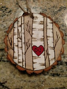 Rustic birch trees with heart wood burned Christmas ornament