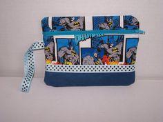 Batman themed cotton fabric wristlet purse by pinklilypadbags