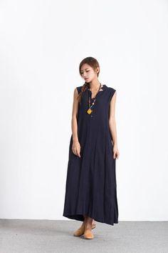 Oversize Linen Cotton Loose maxi Cyan Blue skirt plus size custom made dress A75